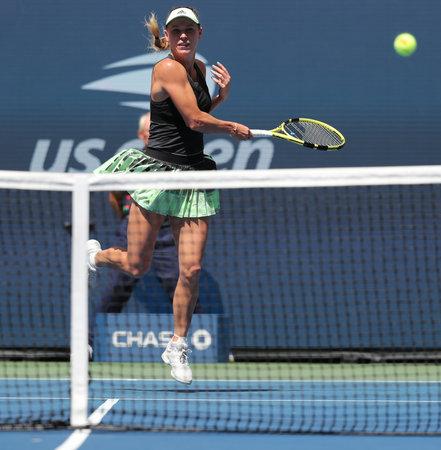 NEW YORK - AUGUST 31, 2019: Grand Slam Champion Caroline Wozniacki of Denmark in action during her 2019 US Open third round match at Billie Jean King National Tennis Center Sajtókép