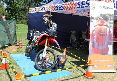 MELBOURNE, AUSTRALIA - JANUARY 26, 2019: The State Emergency Services (SES) rescue motorcycle in Kings Domain Gardens, Melbourne Sajtókép