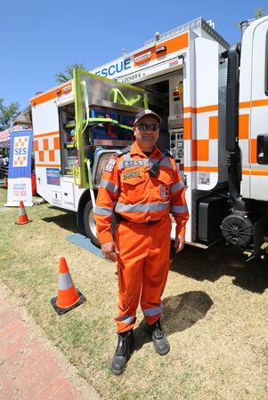 MELBOURNE, AUSTRALIA - JANUARY 26, 2019: The State Emergency Services (SES) rescue officer in Kings Domain Gardens, Melbourne Sajtókép