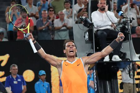 MELBOURNE, AUSTRALIA - JANUARY 25, 2019: Seventeen times Grand Slam champion Rafael Nadal of Spain celebrates victory after his semifinal match at 2019 Australian Open in Melbourne Park