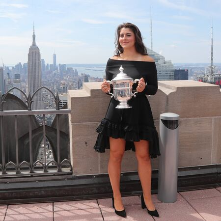 NEW YORK - SEPTEMBER 8, 2019: 2019 US Open champion Bianca Andreescu of Canada poses with US Open trophy on the Top of the Rock Observation Deck at Rockefeller Center in New York Sajtókép