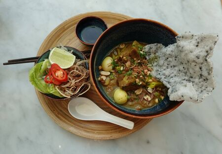 Vietnamese Chicken Noodle Soup with Curry 版權商用圖片
