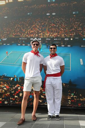 MELBOURNE, AUSTRALIA - JANUARY 27, 2019: Rafael Nadal tennis fans before 2019 Australian Open men's final match between Novak Djokovic of Serbia and Rafael Nadal of Spain at Rod Laver Arena in Melbourne Editöryel