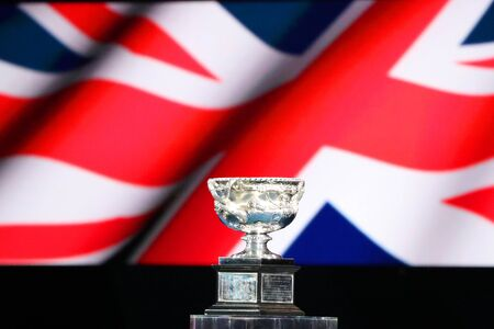 MELBOURNE, AUSTRALIA - JANUARY 27, 2019: The Australian Open men's singles trophy, the Norman Brookes Challenge Cup, during 2019 Australian Open trophy presentation at Rod Laver Arena in Melbourne Park Editöryel