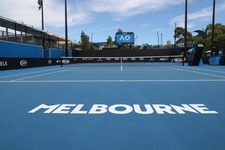 MELBOURNE, AUSTRALIA - JANUARY 27, 2019: Show court 10 at Australian tennis center in Melbourne Park during 2019 Australian Open Editöryel