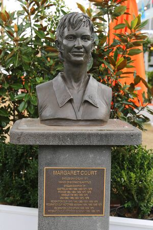 MELBOURNE, AUSTRALIA - JANUARY 26, 2019: Margaret Court Bust in front of the Rod Laver Arena at Australian tennis center in Melbourne Park.