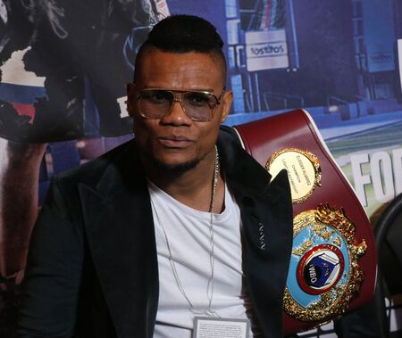 NEW YORK - DECEMBER 8, 2018: Light heavyweight world champion boxer Eleider Alvarez of Columbia during press conference for rematch fight against Sergey Kovalev in Madison Square Garden in New York 에디토리얼