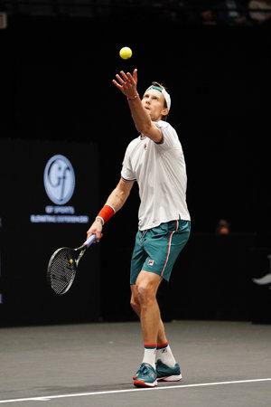 UNIONDALE, NEW YORK - 16. FEBRUAR 2020: Finalist Andreas Seppi aus Italien im Einsatz während seines letzten Spiels beim Tennisturnier der New York Open 2020 in Uniondale, New York