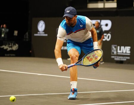 UNIONDALE, NEW YORK - FEBRUARY 16, 2020:  2020 New York Open tennis tournament doubles finalist Steve Johnson of United states in action during his final match in Uniondale, New York Editorial