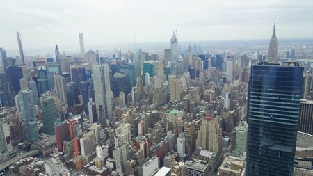 Aerial view from The Edge observation deck. It opened at Hudson Yards in Manhattan, New York. It is the tallest  observation deck in the Western Hemisphere at 1,131 feet