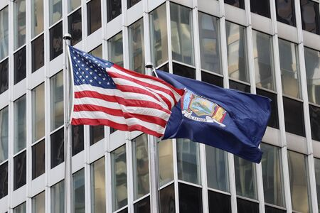 United States and New York State flags Stock fotó