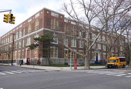 BROOKLYN, NEW YORK - MARCH 17, 2020: Elementary school PS 207 closed after New York City shut down the public school system to stop the spread of the coronavirus (COVID-19)