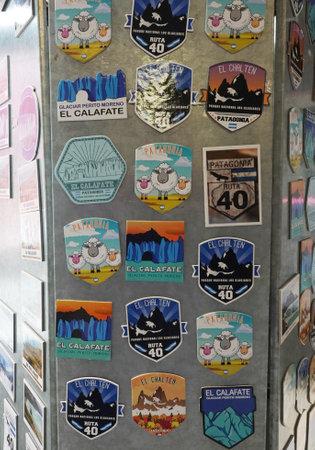 EL CALAFATE, ARGENTINA  - FEBRUARY 9, 2020: Local souvenirs at the Perito Moreno Glacier Visitors Center in the Los Glaciares National Park in southwest Santa Cruz Province, Argentina