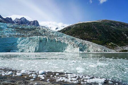 Pia Glacier in Parque Nacional Alberto de Agostini in the Beagle Channel of Patagonia, Chile Stock Photo