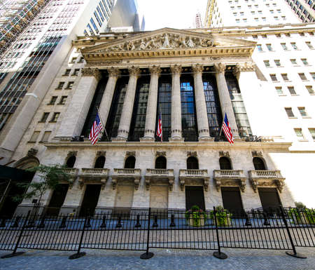 NEW YORK - JULY 16, 2017: The New York Stock Exchange in Manhattan. It is by far the world's largest stock exchange by market capitalization of its listed companies