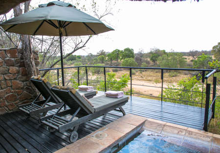 HAZYVIEW, SOUTH AFRICA - OCTOBER 1, 2018: Luxury suite in Singita Ebony Lodge located in Sabi Sands Game Reserve, South Africa Editorial