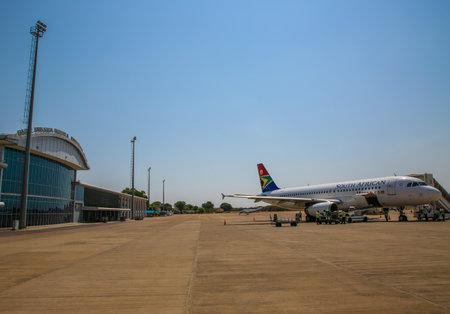 LIVINGSTONE, ZAMBIA - OCTOBER 4, 2018: South African Airways plane on tarmac at Harry Mwanga Nkumbula International Airport in Zambia