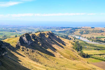"""Panoramic view from Te Mata peak, Hawke""""s Bay, New Zealand Stock Photo"""