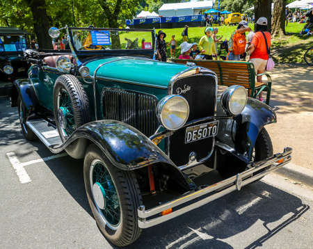 MELBOURNE, AUSTRALIA - JANUARY 26, 2019: DeSoto 1929 K  Roadster on display at 2019 Royal Automobile Club of Victoria Australia Day Heritage Vehicle Showcase in Kings Domain Gardens.