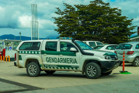 USHUAIA, ARGENTINA - FEBRUARY 5, 2020: Argentine National Gendarmerie provides security in Ushuaia, Argentinian Patagonia. It is the southernmost city in the world