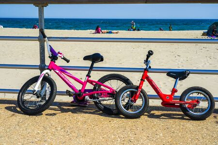 Bicycles parked at the Riis Park boardwalk in Far Rockaway, New York