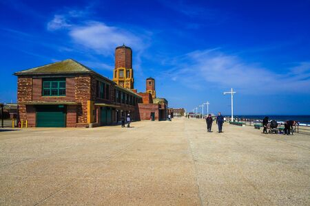The Riis Park bathhouse at Jacob Riis Park in Far Rockaway. The Jacob Riis Park Historic District was listed on the National Register of Historic Places in 1981