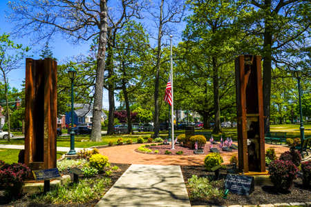 EAST ROCKAWAY, NEW YORK - MAY 21, 2020: September 11 memorial with columns from World Trade Center site in East Rockway