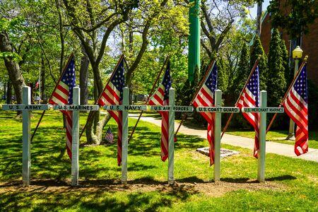 American flags at military memorial on Memorial Day
