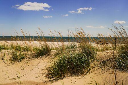 Dunas y olas en la playa del Atlántico Foto de archivo
