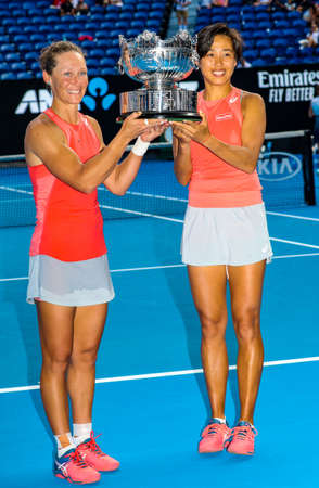 MELBOURNE, AUSTRALIA - JANUARY 25, 2019: Grand Slam champions Samantha Stosur of Australia (L) and Zhang Shuai of China during trophy presentation after 2019 Australian Open doubles final match at Rod Laver Arena