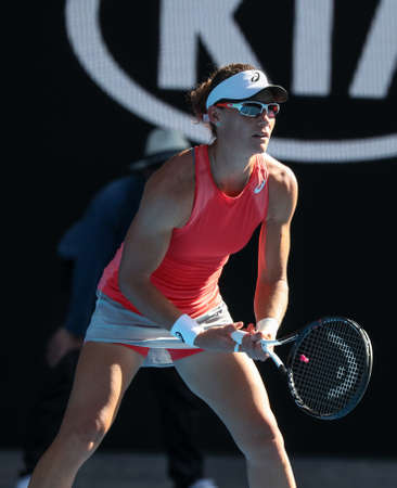 MELBOURNE, AUSTRALIA - JANUARY 25, 2019: Grand Slam champion Samantha Stosur of Australia in action during 2019 Australian Open doubles final match at Rod Laver Arena