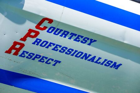 Courtesy, Professionalism, Respect sign at New York Police Department car Zdjęcie Seryjne