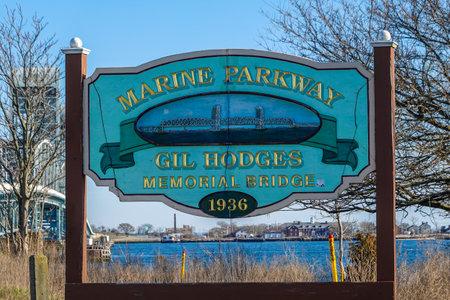 BROOKLYN, NEW YORK - MARCH 27, 2020: The Marine Parkway - Gil Hodges Memorial Bridge sign in  Brooklyn, New York Editorial