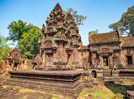 Banteay Srei Hindu Temple located in the area of Angkor Wat, Cambodia Stok Fotoğraf