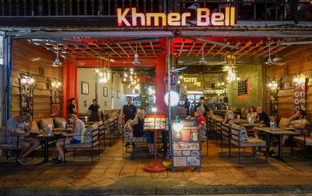 SIEM RIP, CAMBODIA - NOVEMBER 4, 2019: Pub street tourist bar and restaurant area in Siem Rip, Cambodia