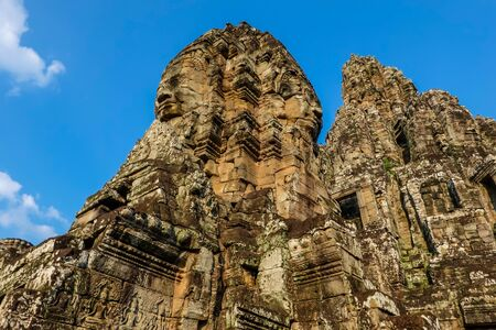 Famous faces of Bayon, the most notable temple at Angkor Thom, Cambodia