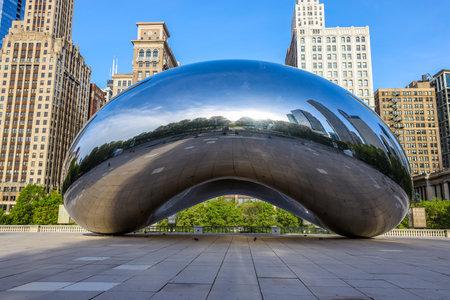 Cloud Gate sculpture in Millennium Park, Chicago. Cloud Gate is a public sculpture by Indian-born British artist Sir Anish Kapoor