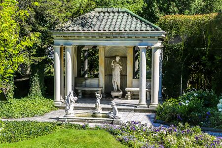 The Blue & White Garden at the Sonnenberg Gardens and Mansion State Historic Park in Finger Lakes Region, New York