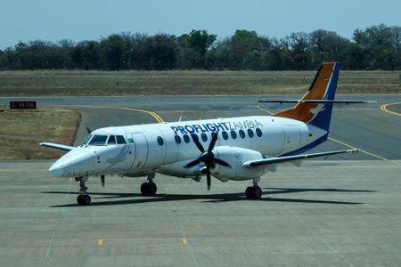 LIVINGSTONE, ZAMBIA - OCTOBER 4, 2018: Proflight Zambia Airline plane on tarmac at Harry Mwanga Nkumbula International Airport in Zambia