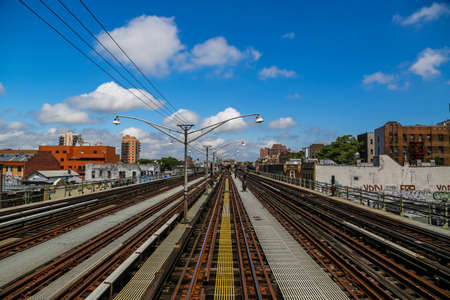 The New York City Subway tracks at Brighton Beach Station in Brooklyn. Owned by the NYC Transit Authority, the subway system has 469 stations in operation