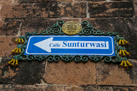CUSCO, PERU - OCTOBER 4, 2020: Sunturwasi street sign in Cusco, Peru. Suntur Wasi was an armoury and heraldry centre for the Inca royalty Editorial