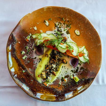 Vegetarian dish in gourmet French restaurant