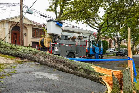 BROOKLYN, NEW YORK - AUGUST 4, 2020: Con Edison repair crew restores power and clears street the aftermath of severe weather as tropical storm Isaias hits New York City