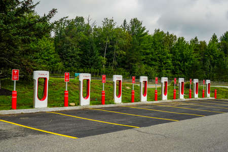 LAKE PLACID, NEW YORK - AUGUST 22, 2020: Tesla Supercharger station in Lake Placid, New York