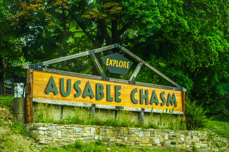 AUSABLE CHASM, NEW YORK - AUGUST 22, 2020: Ausable Chasm in Upstate New York. The gorge is about two miles (3.2 km) long and is a tourist attraction in the Adirondacks region of Upstate New York