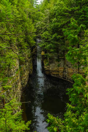 Ausable Chasm in Upstate New York. The gorge is about two miles 3.2 km long and is a tourist attraction in the Adirondacks region of Upstate New York