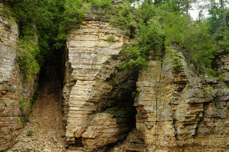 Elephant Head sandstone rock formation in Ausable Chasm, Upstate New York. The gorge is about two miles 3.2 km long and is a tourist attraction in the Adirondacks region of Upstate New York