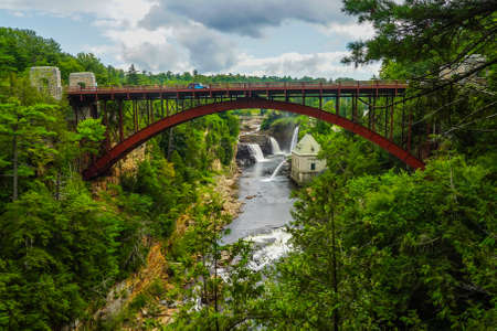 Rainbow Falls at Ausable Chasm in Upstate New York. The gorge is about two miles 3.2 km long and is a tourist attraction in the Adirondacks region of Upstate New York Banco de Imagens