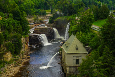 Rainbow Falls at Ausable Chasm in Upstate New York. The gorge is about two miles 3.2 km long and is a tourist attraction in the Adirondacks region of Upstate New York Editorial