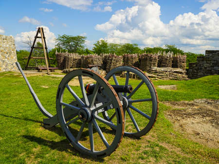 Old cannon at the historic Fort Ticonderoga in Upstate New York. Fort Ticonderoga, formerly Fort Carillon, is a large 18th-century star fort built by the French in northern New York, United States